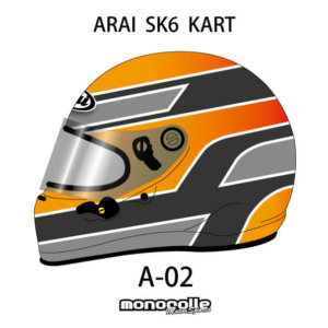 SEMI CUSTOM HELMET PAINT ARAI SK6 KART HELMET SET DESIGN A-02 ORDER ITEM 2-3MONTH